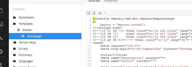 Set the master template bindtuning umbraco themes.