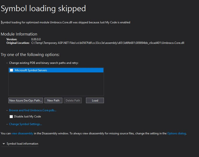 Symbol Loading skipped error in vs2017