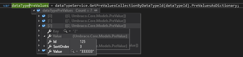 prevalues dictionary