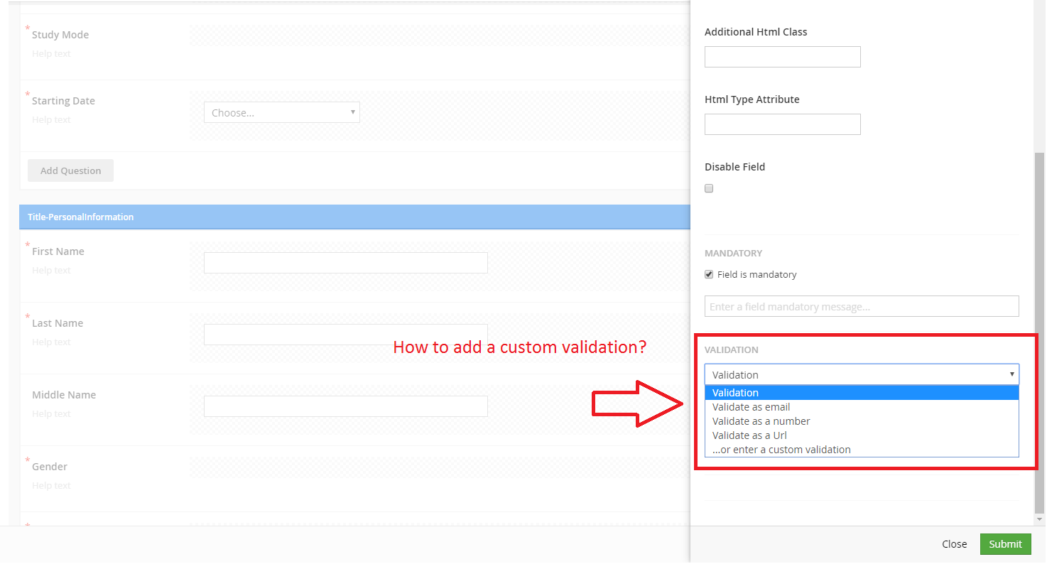 how to a custom validation on a field type in umbraco form ...