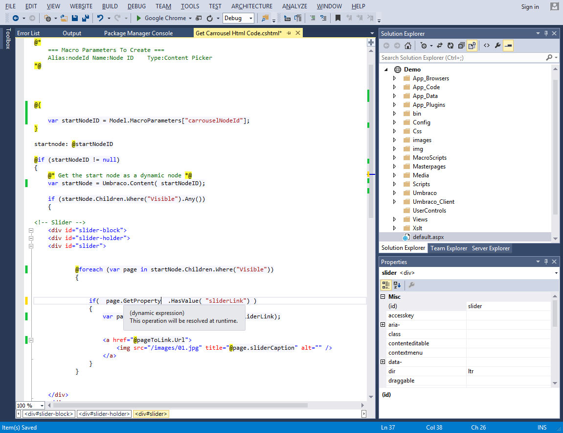 need help with visual studio and mvc razor and getting a