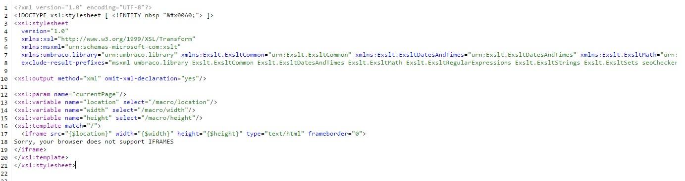 iframe xslt macro unable to rezise iframe box - XSLT - our umbraco com