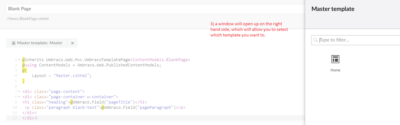 How to move one template under another using umbraco and getting.