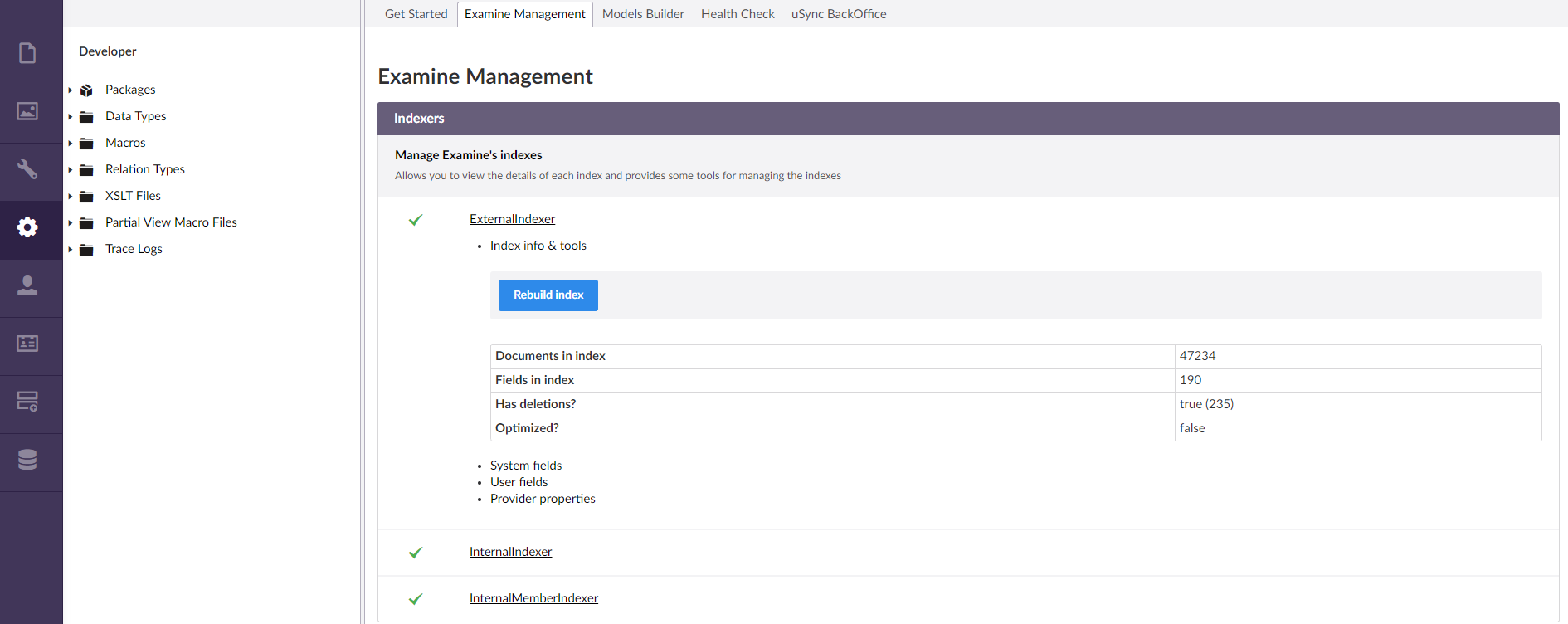 examinesearch cache - Extending Umbraco and using the API - our
