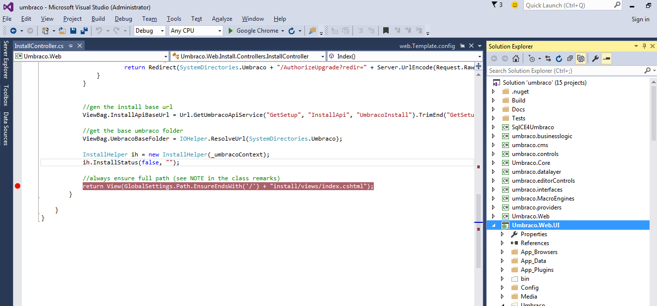 a server error occurred during build from visual studio 2015