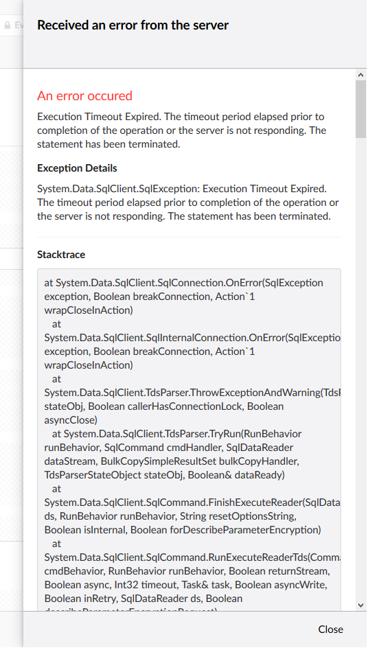 Execution Timeout Exception