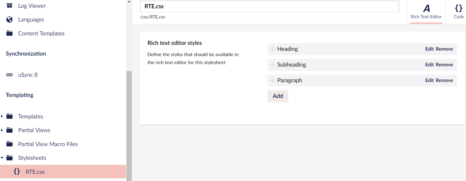 rich text editor user styles dropdown customization not available