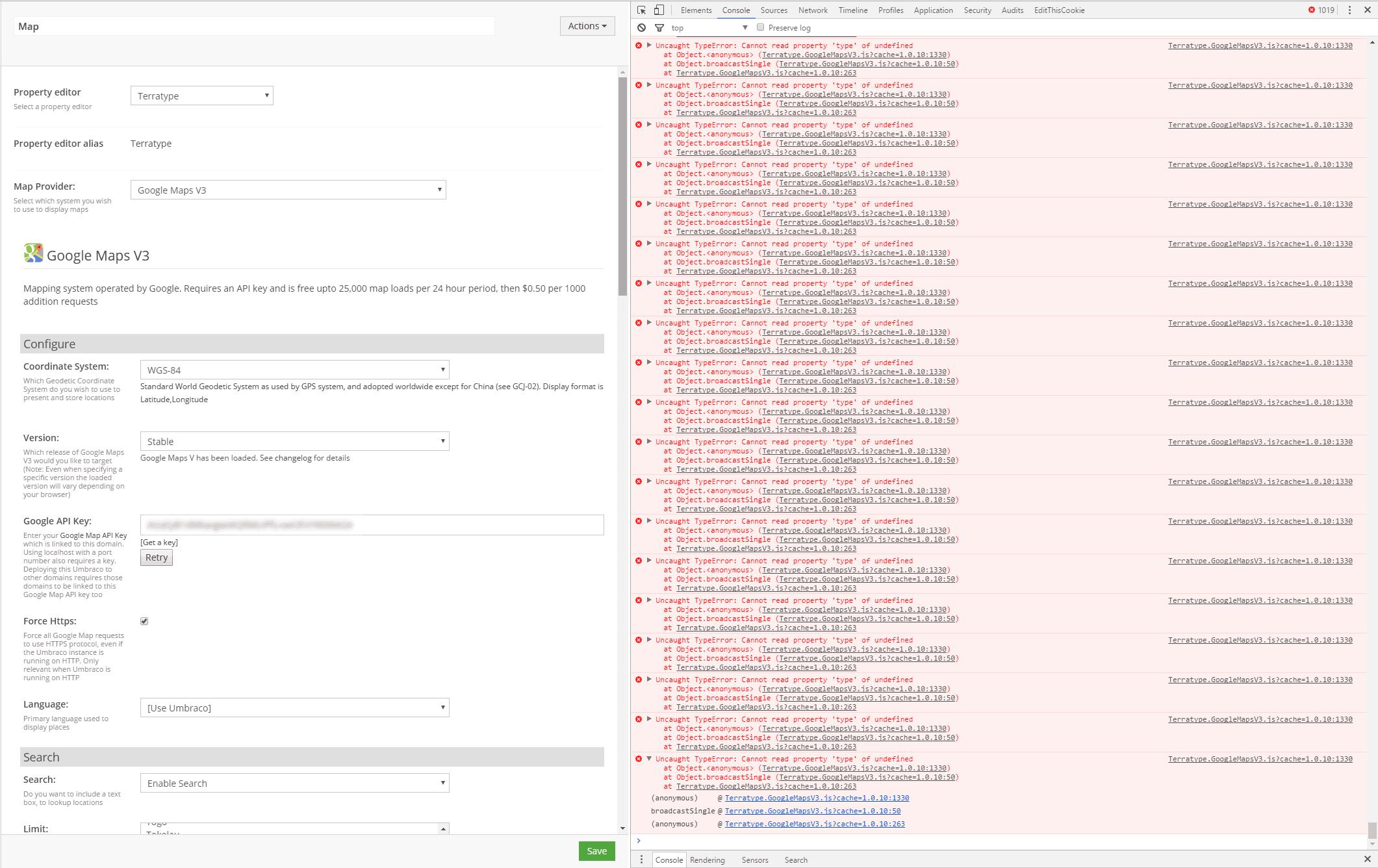 terratype map not rendering console errors - Bugs