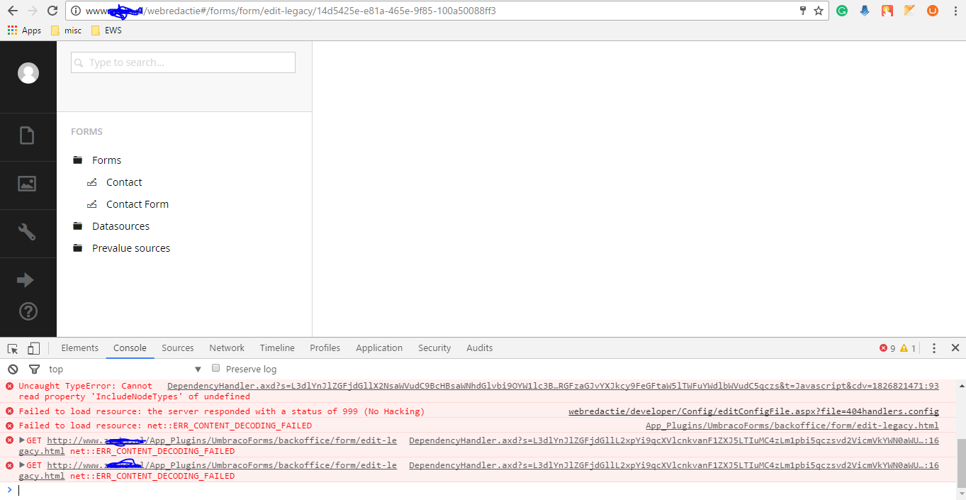umbraco form not displaying content err_content_decoding_failed ...