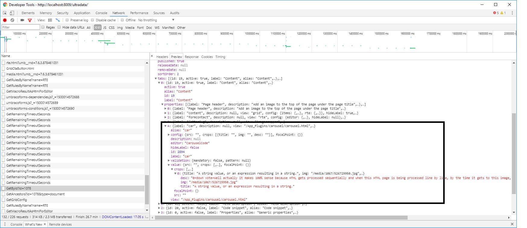 custom data type returning array - Extending Umbraco and using the