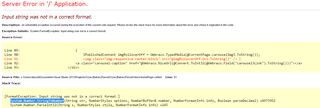 umbraco input string was not in a correct format - Templates