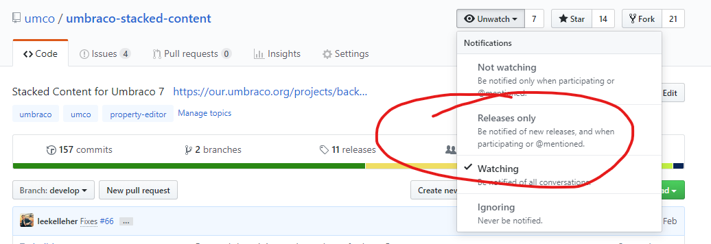 Stacked Content's GitHub Release notifications
