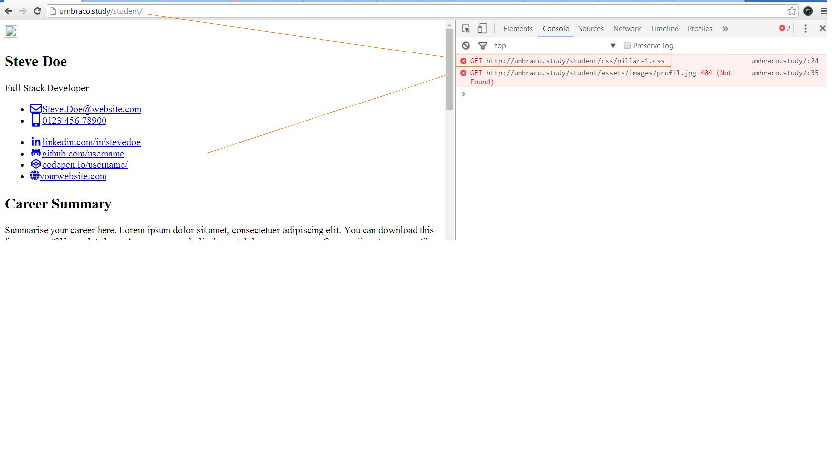 style not applied on subpage v7132 - Using Umbraco and getting