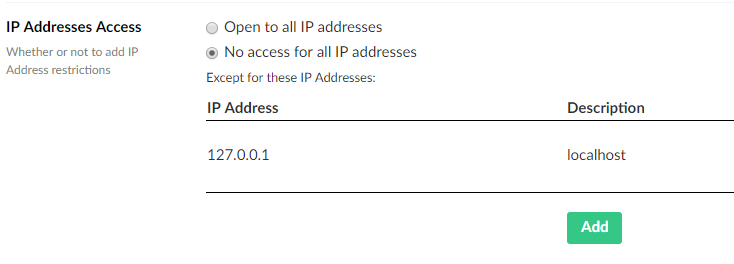 Correct setup of access to backoffice with localhost example IP Address