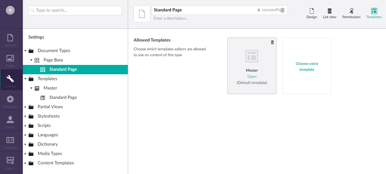 Template selection for Standard Page Document Type