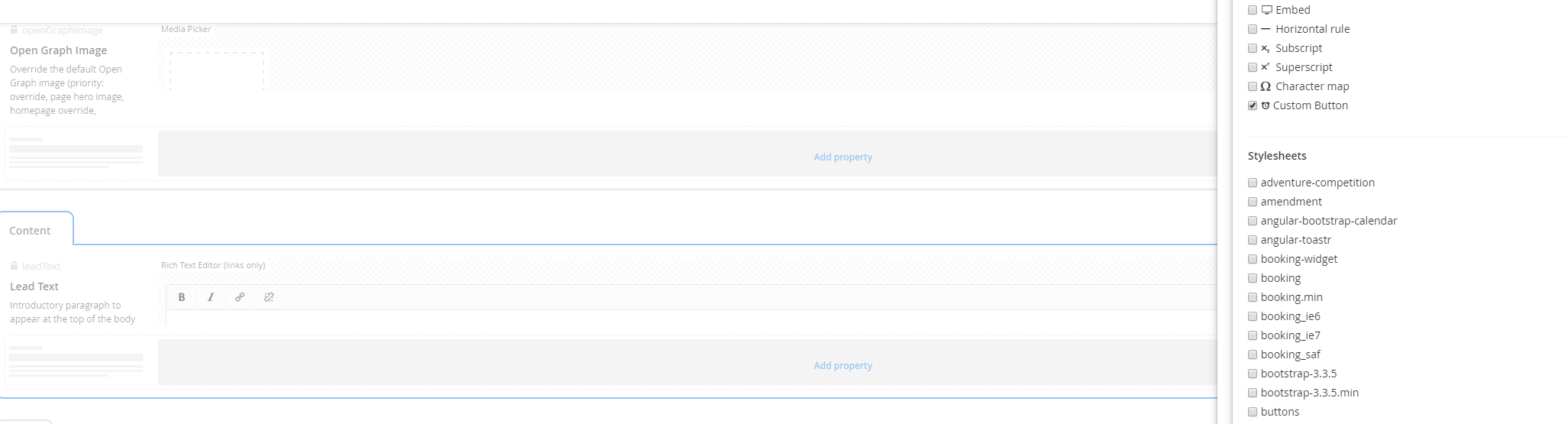 custom grid editor rich text custom button - Extending