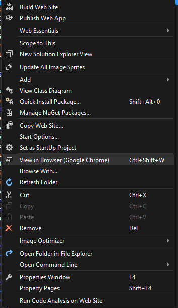 opening localhost from visual studio and from browser - Using