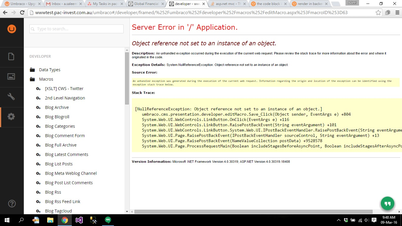 macro editing giving null reference error - Using Umbraco 7