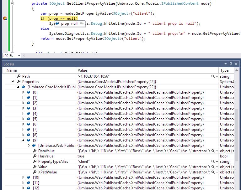 node getpropertyvalue returning null - Extending Umbraco and