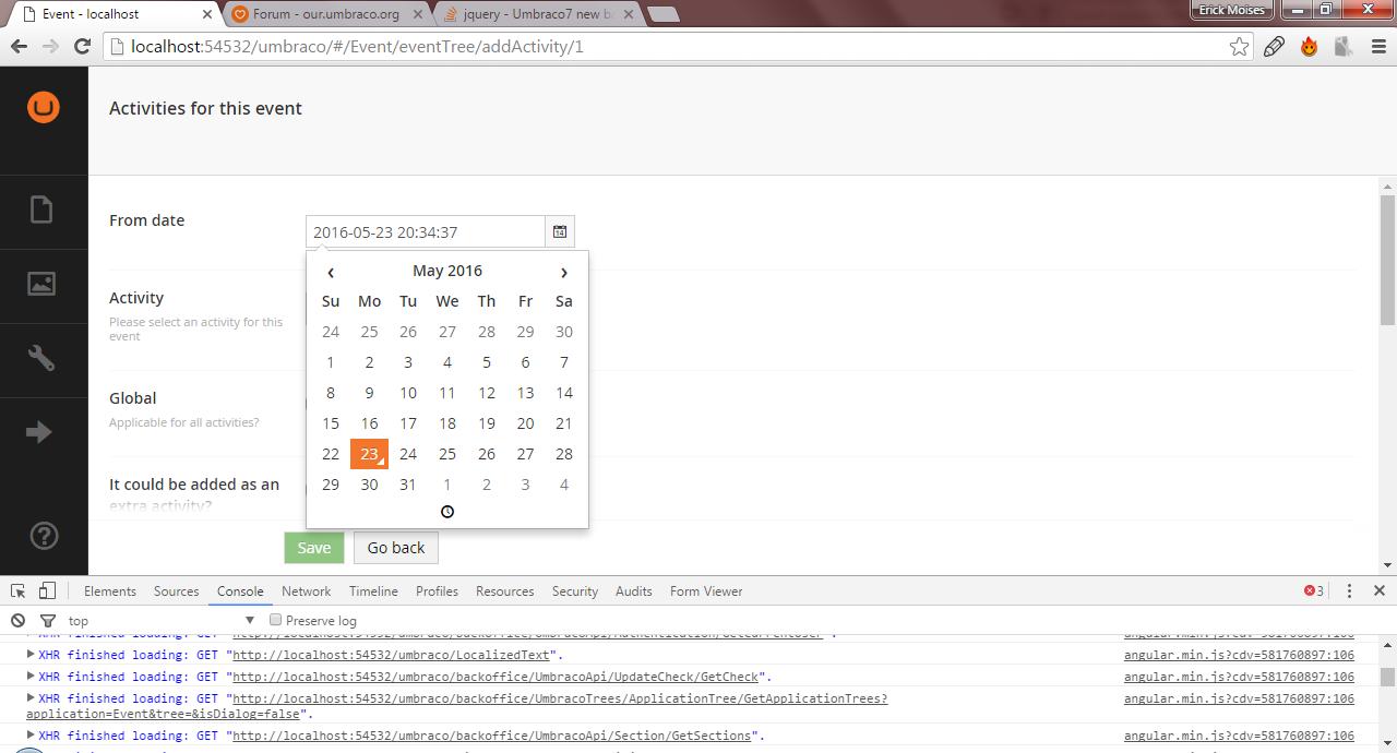 datepicker - Extending Umbraco and using the API - our umbraco com