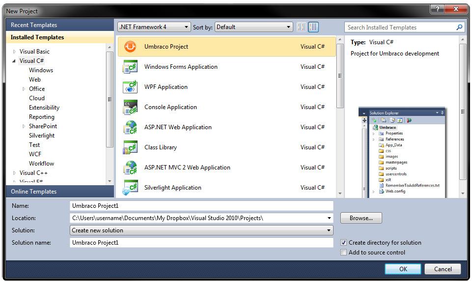 Visual Studio 2010 Project Template - our umbraco com